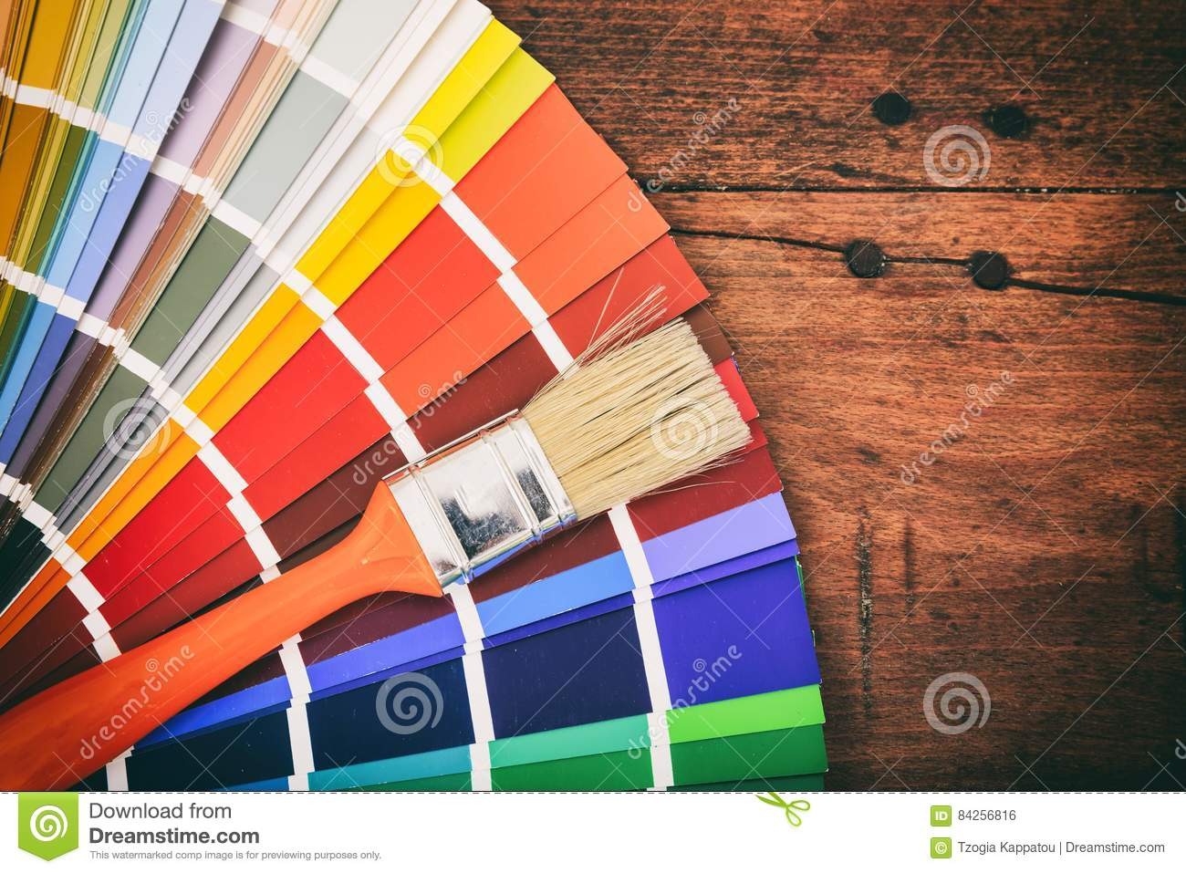 Color Palette On Wooden Background Stock Photo - Image of ...