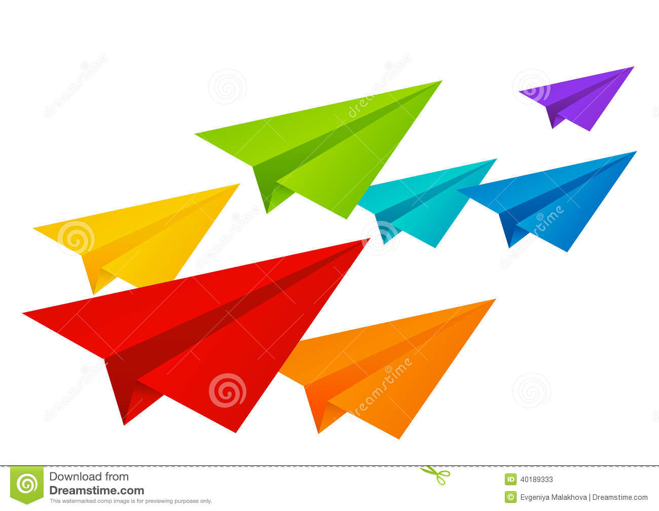 Color Paper Airplanes Isolated On White Stock Vector - Image: 40189333