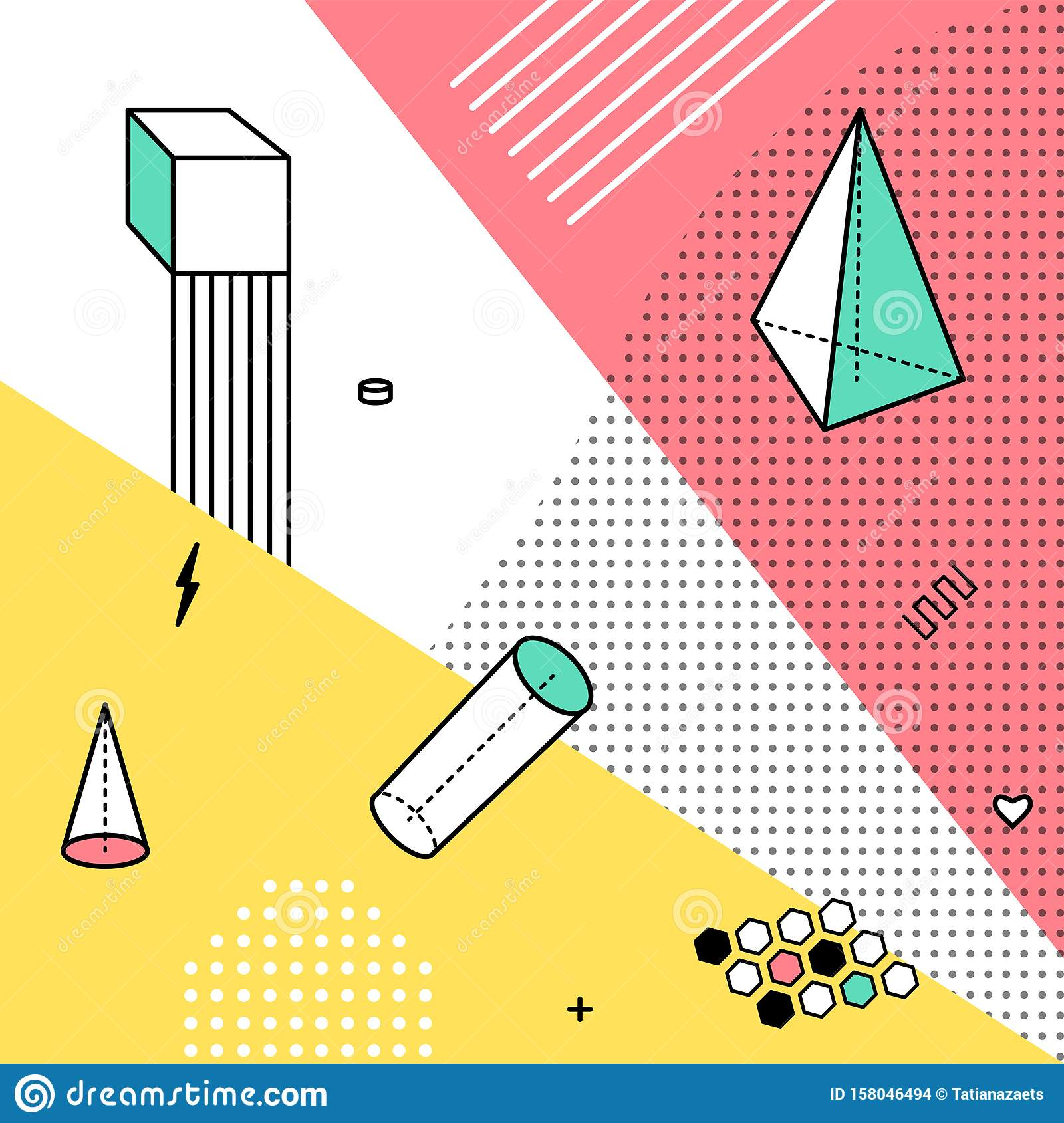 Color Pattern With Geometric Graphic Elements Geometrical Shapes Backdrop For Abstract Fashion Vector Background Design Stock Vector Illustration Of Element Memphis 158046494