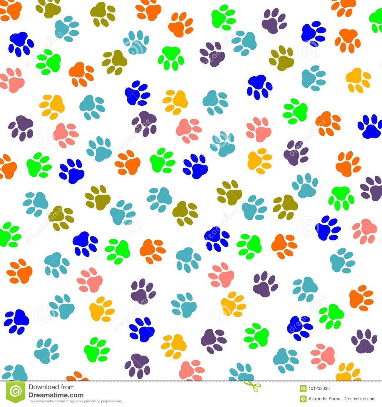 Paw Print Color stock vector. Illustration of design - 101232030