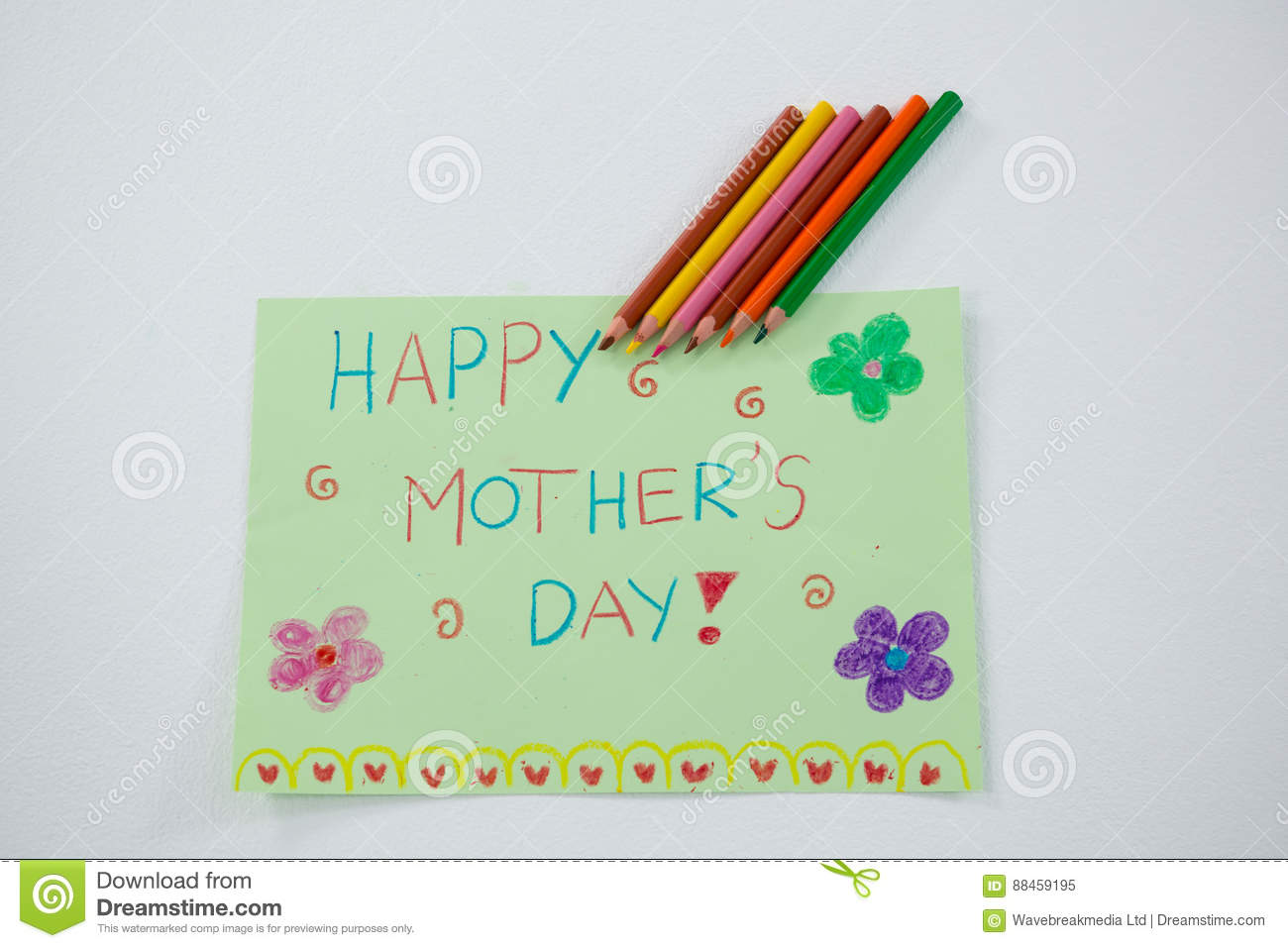 Color Pencil Kept On Happy Mothers Day Greetings Card Stock Image