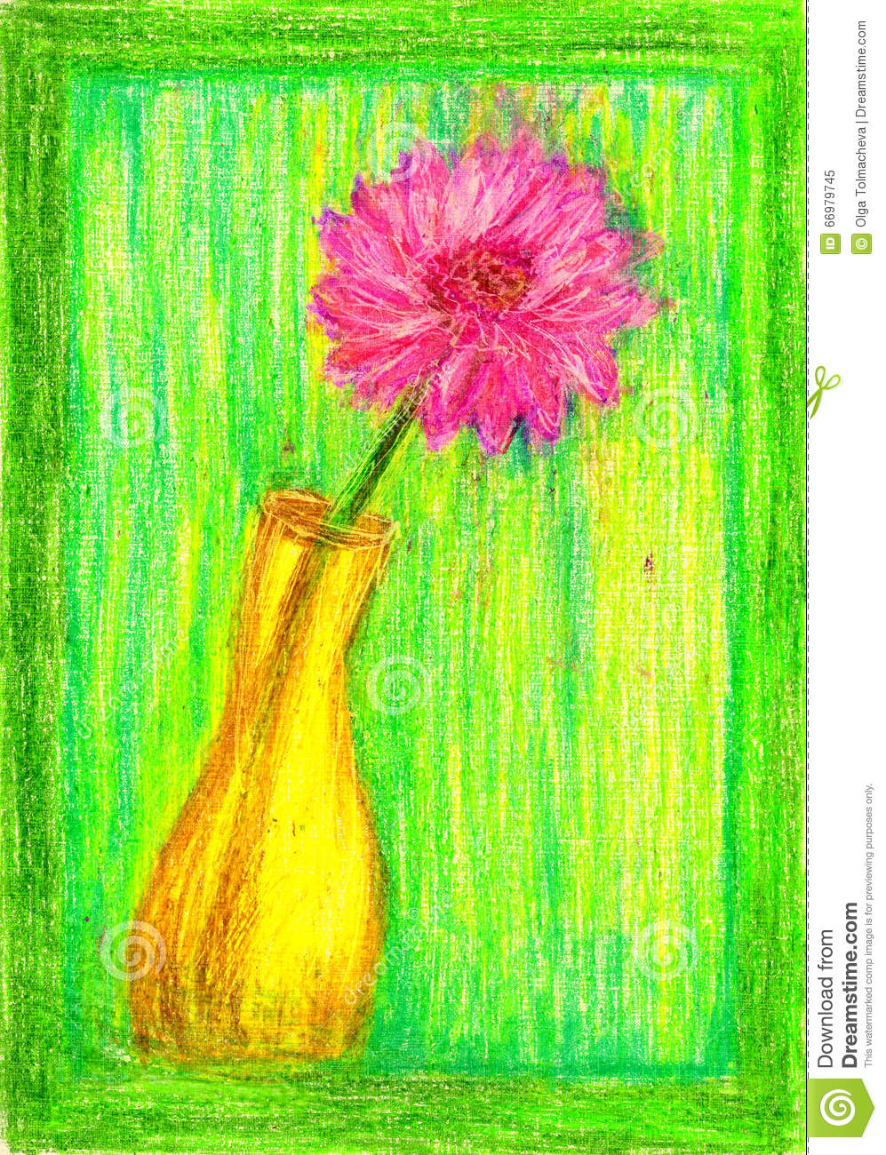 Color Pencil Vase With Flower Stock Illustration Illustration Of Color Vase 66979745