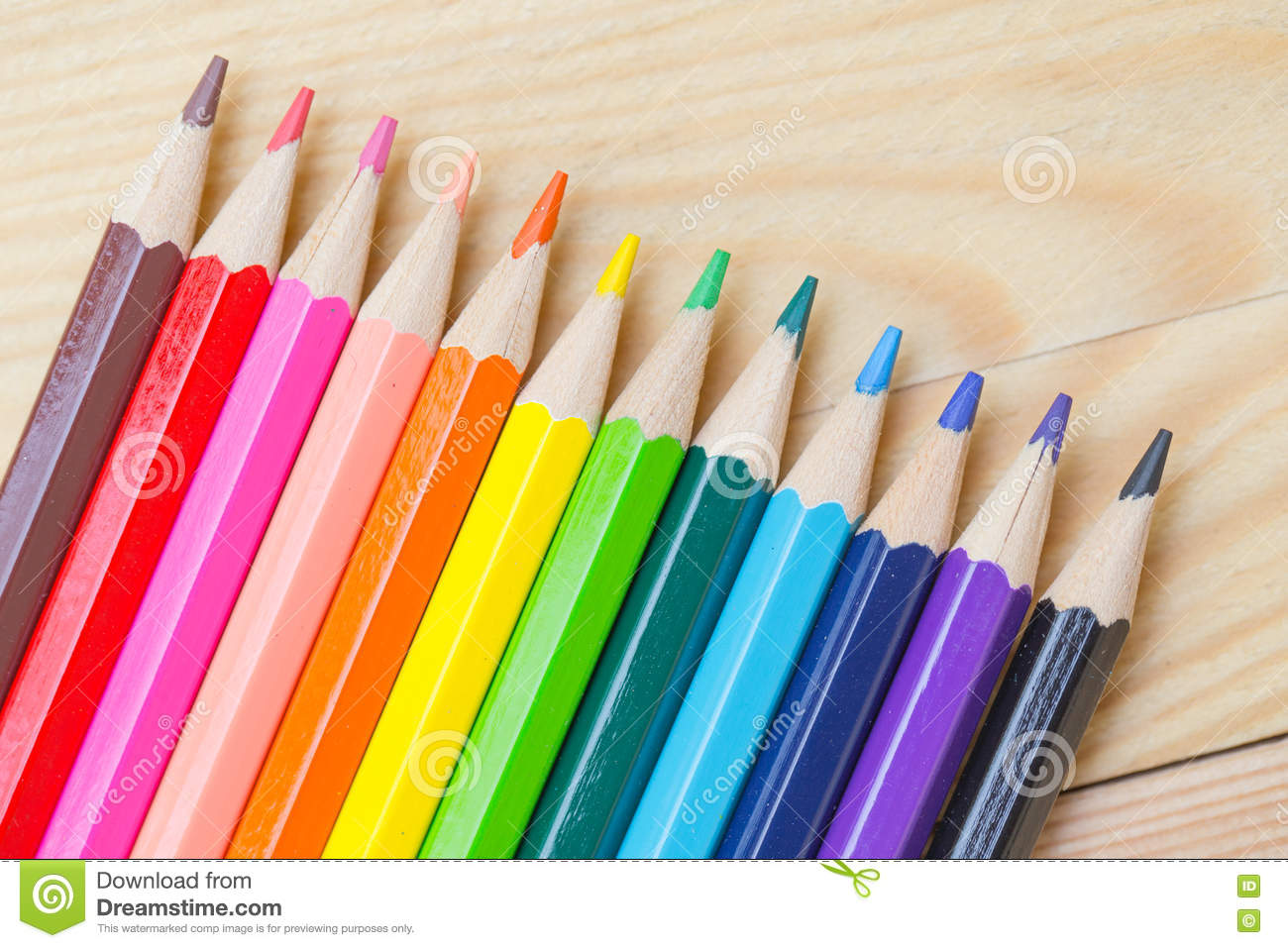 Download Color Pencil On Wood Table Background. Stock Photo   Image Of  Large, Kids