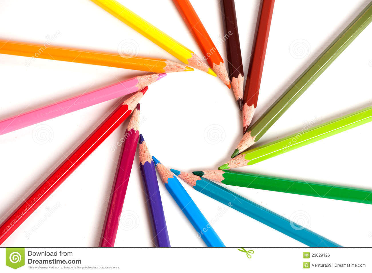 Color Pencils Arranged In Circle Stock Photo