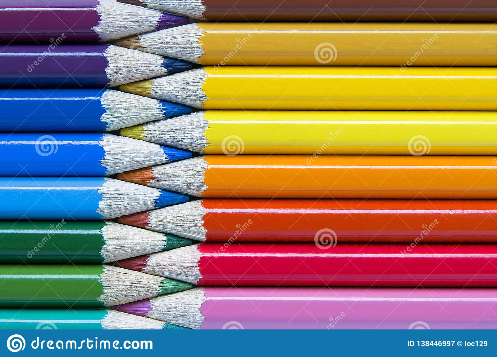 Color pencils background, zipper stylized. Warm and cold color