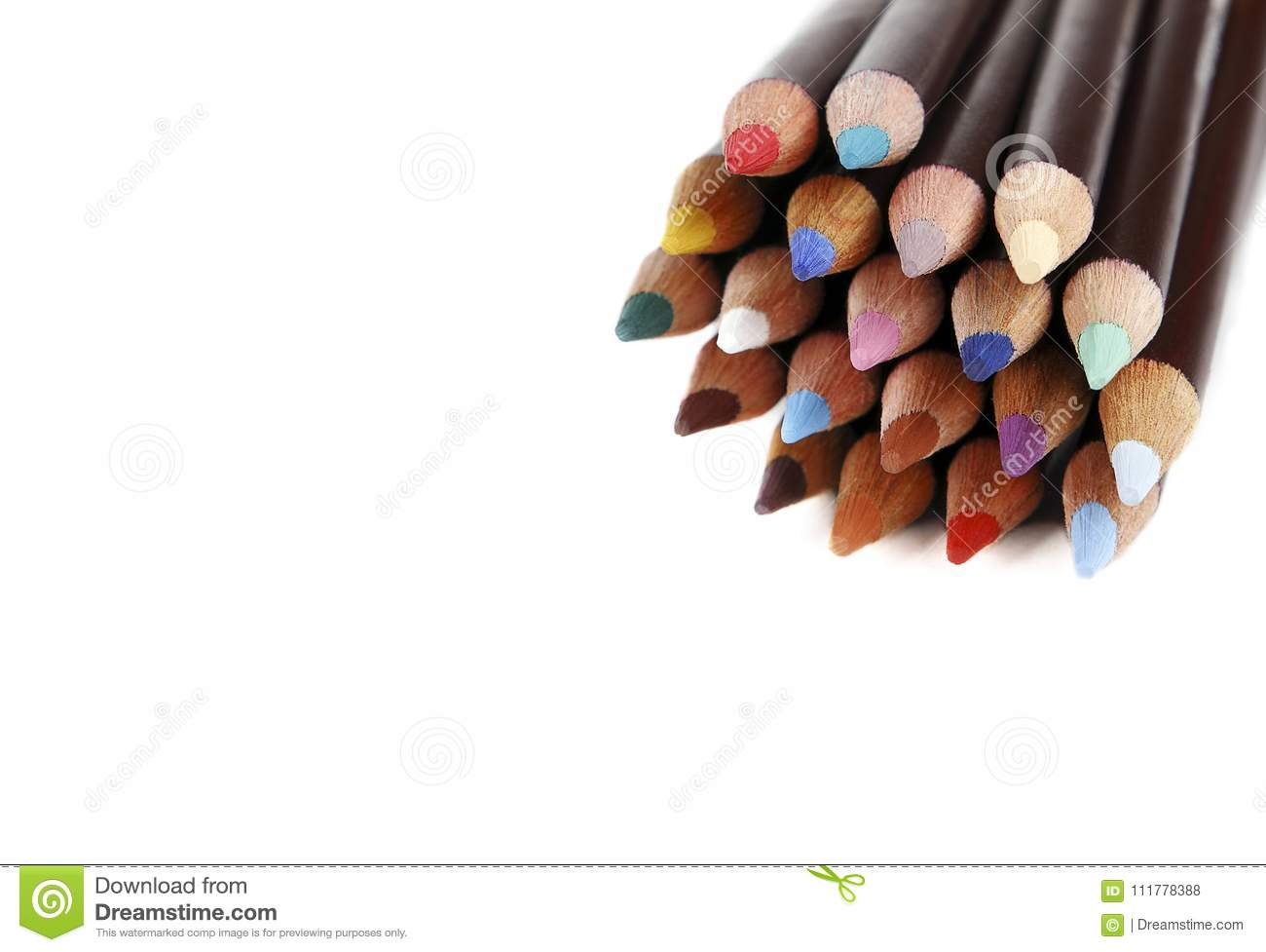 Color pencils with space for text, white background. Texture wood colored pencils. Colored pencils macro. DOF.