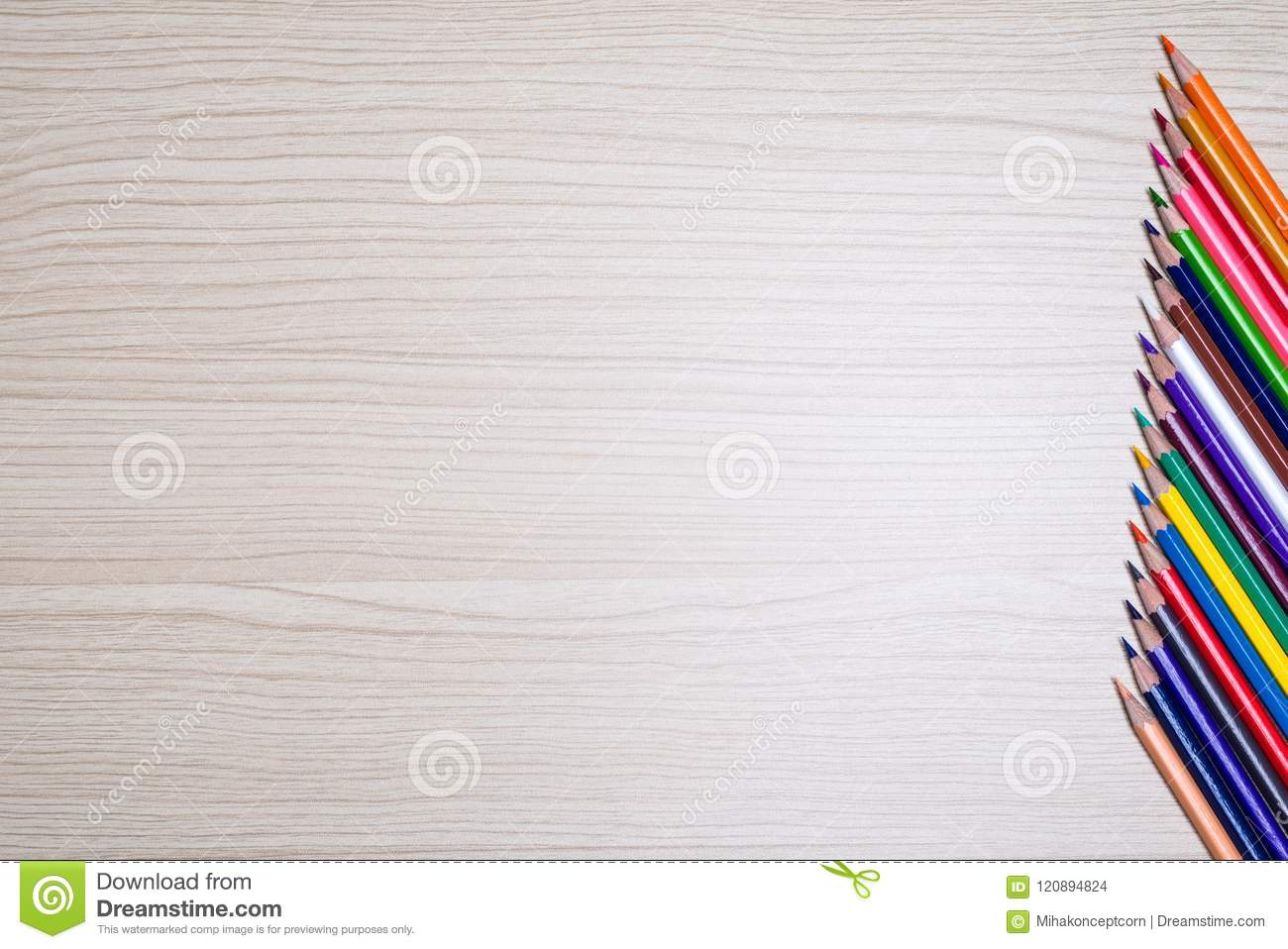 Color Pencils On A Wooden Table Top View Stock Photo Image Of