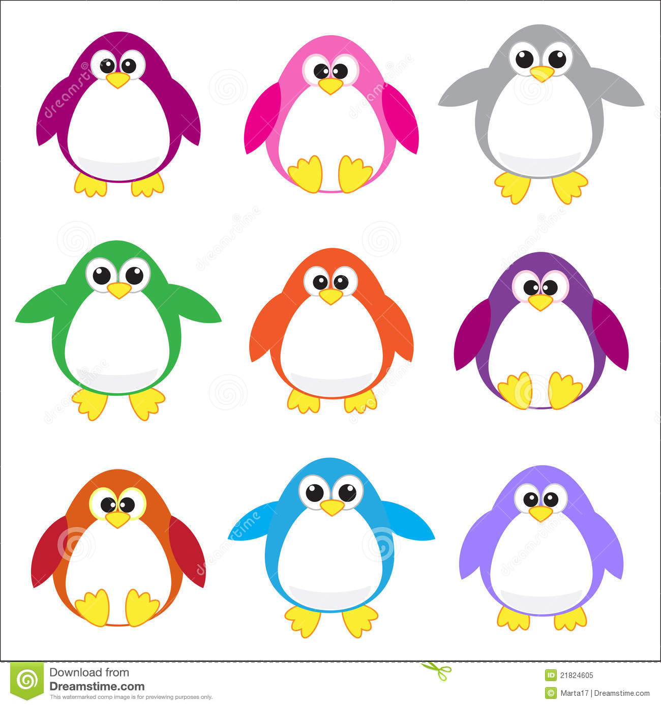 Color Penguins Clip Art Royalty Free Stock Photo - Image: 21824605