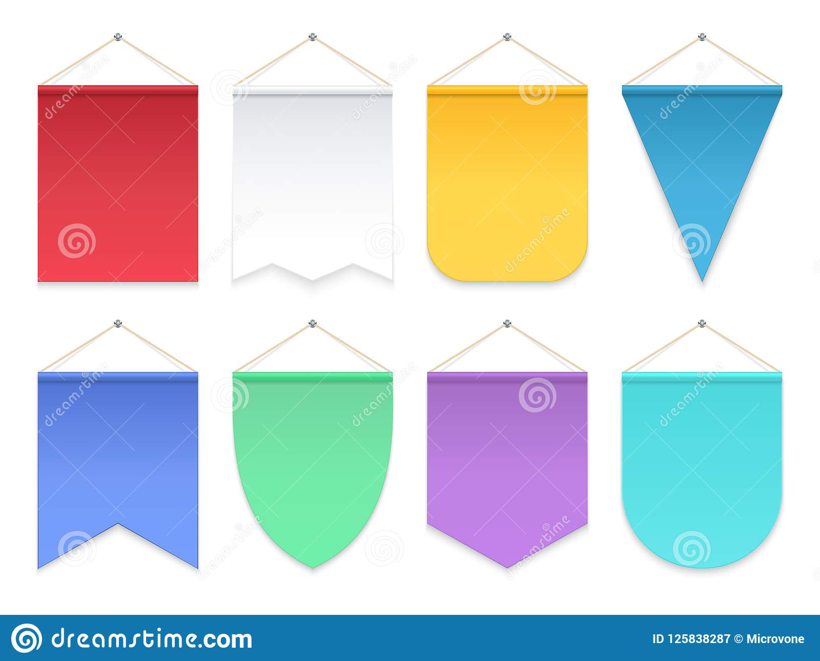color pennant triangle hanging banners and flags fabric football