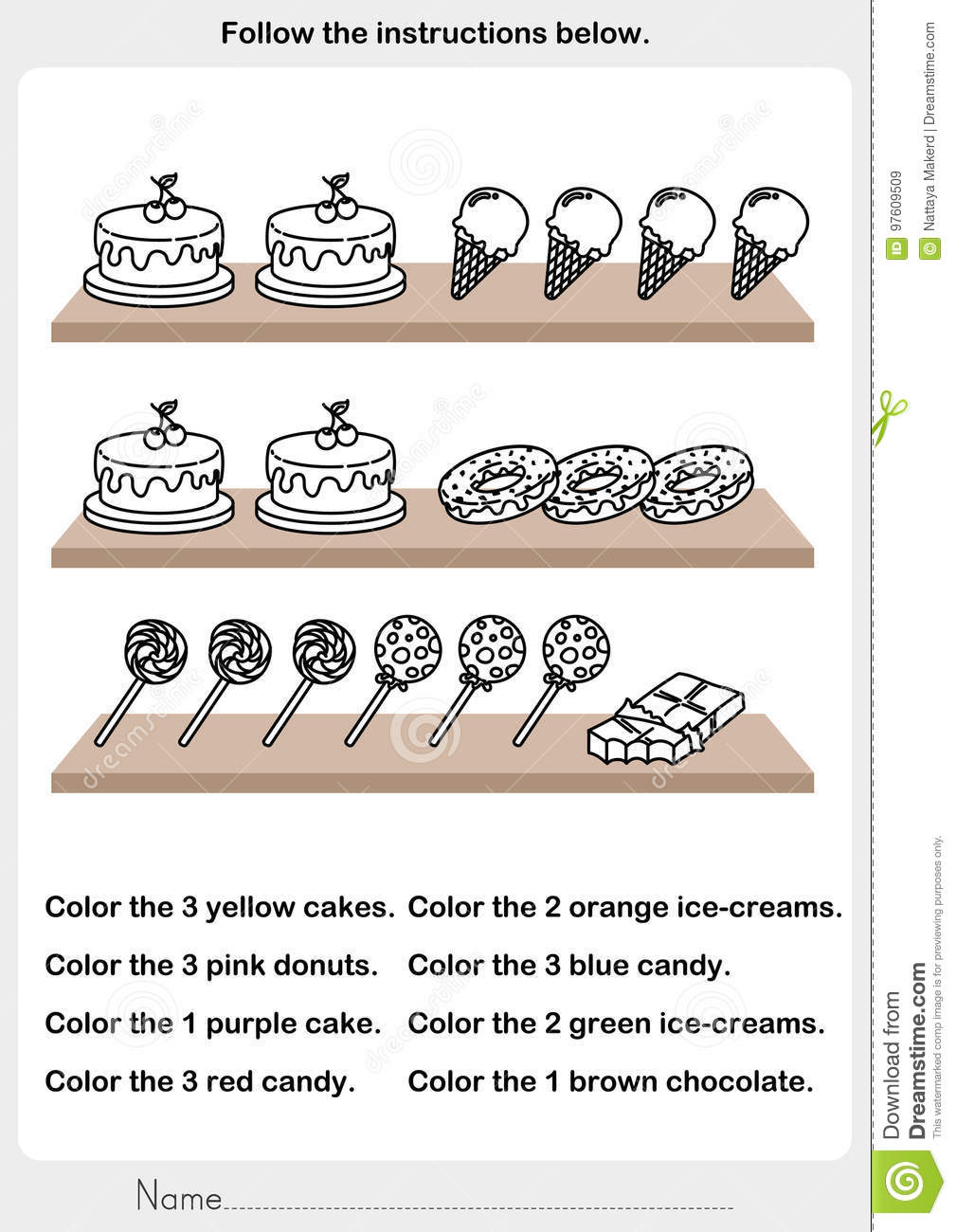 Color the picture - desserts on the shelf