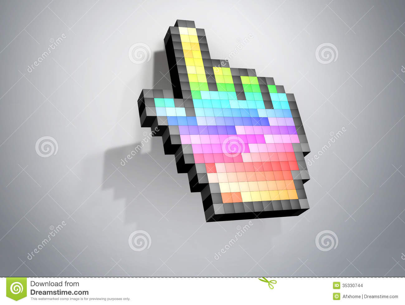 Color Pixel Hand Cursor Computer Mouse. Stock Illustration ...