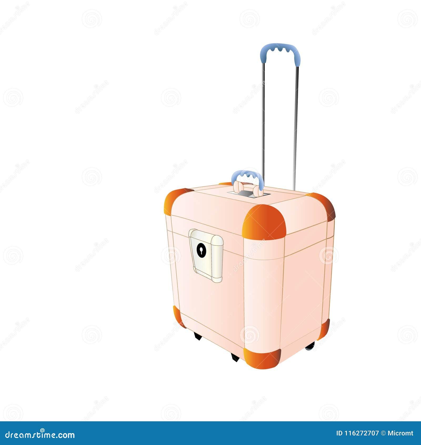 Color plástico del melocotón de la maleta del viaje, grande con las ruedas Ejemplo creativo del vector de aislado en el fondo bla