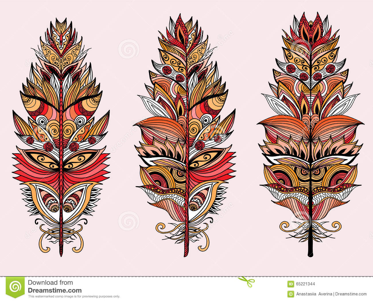 color plumes vector illustration stock vector image