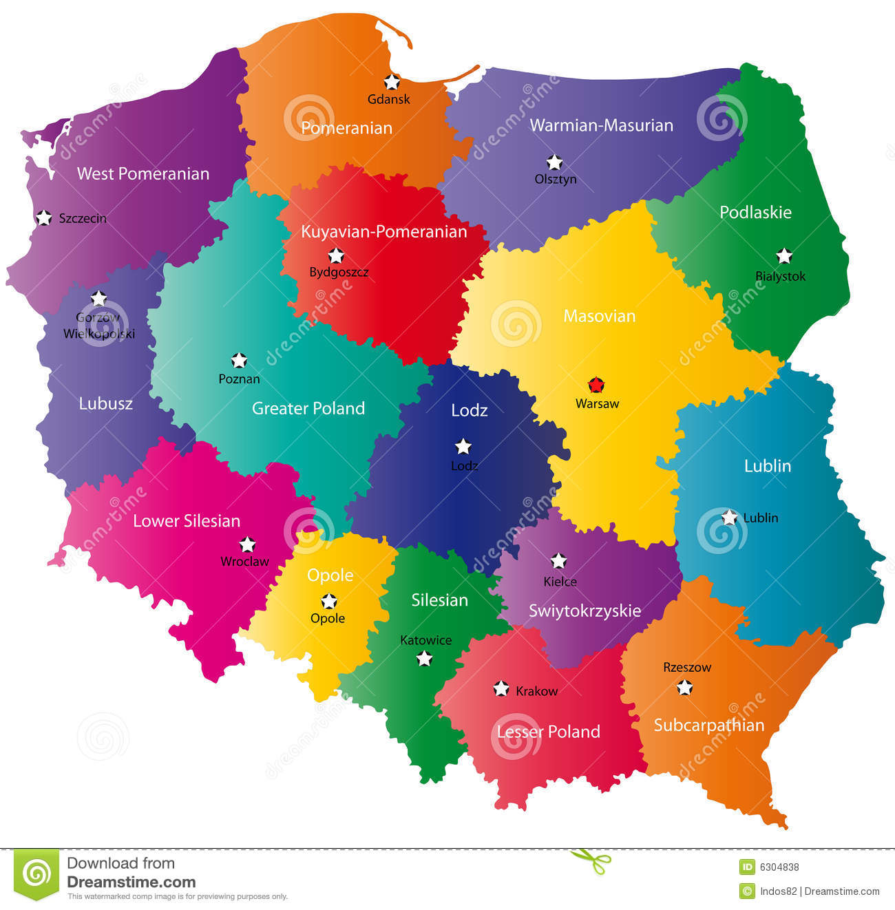 color poland map stock vector image of geography regions   - color poland map