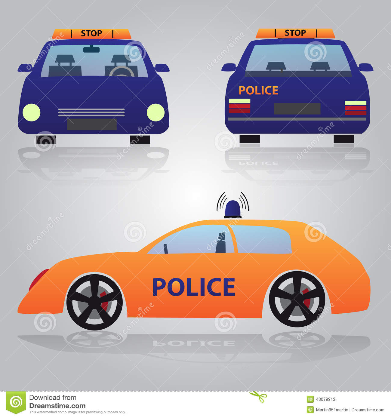 Royalty Free Vector Download Color Police Car From Front Back And Side View Stock