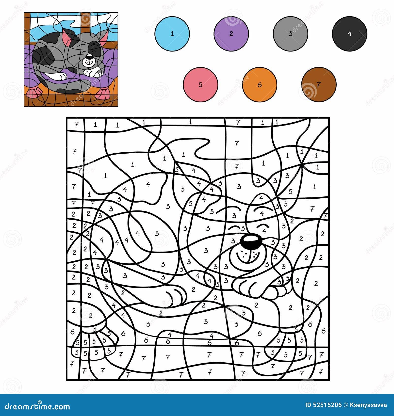 Color por el gato soñoliento del número