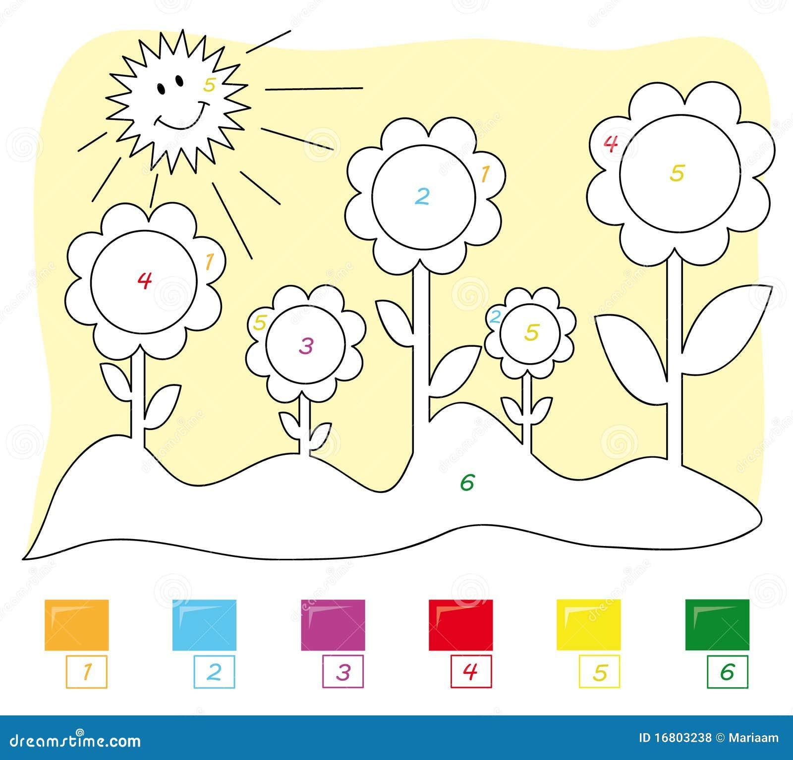 Color por el juego de número: flores