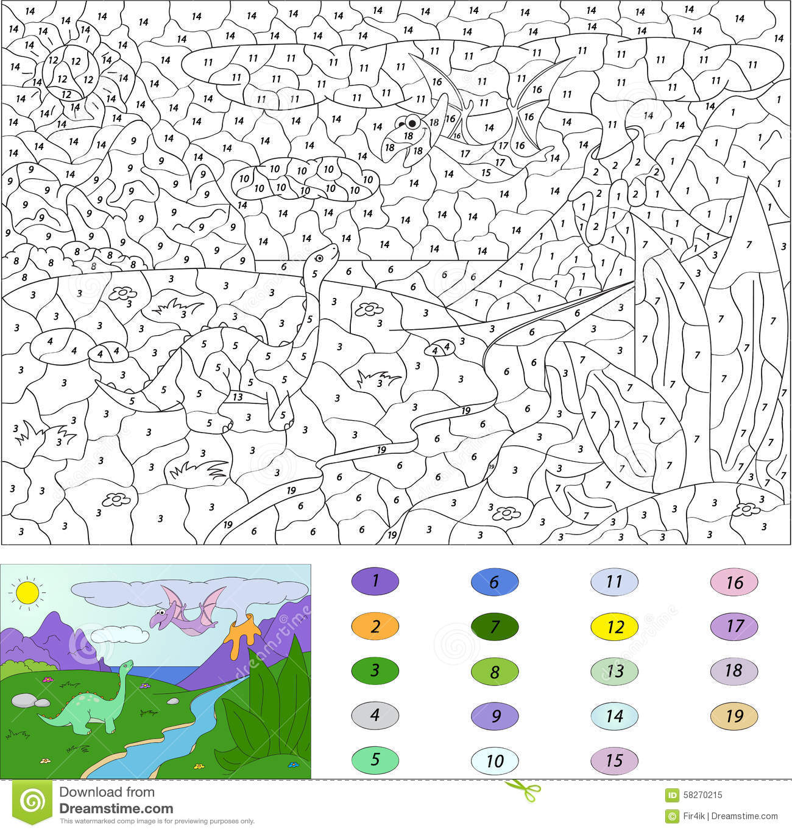 Color Por El Juego Educativo Del Número Para Los Niños Pterodáctilo ...