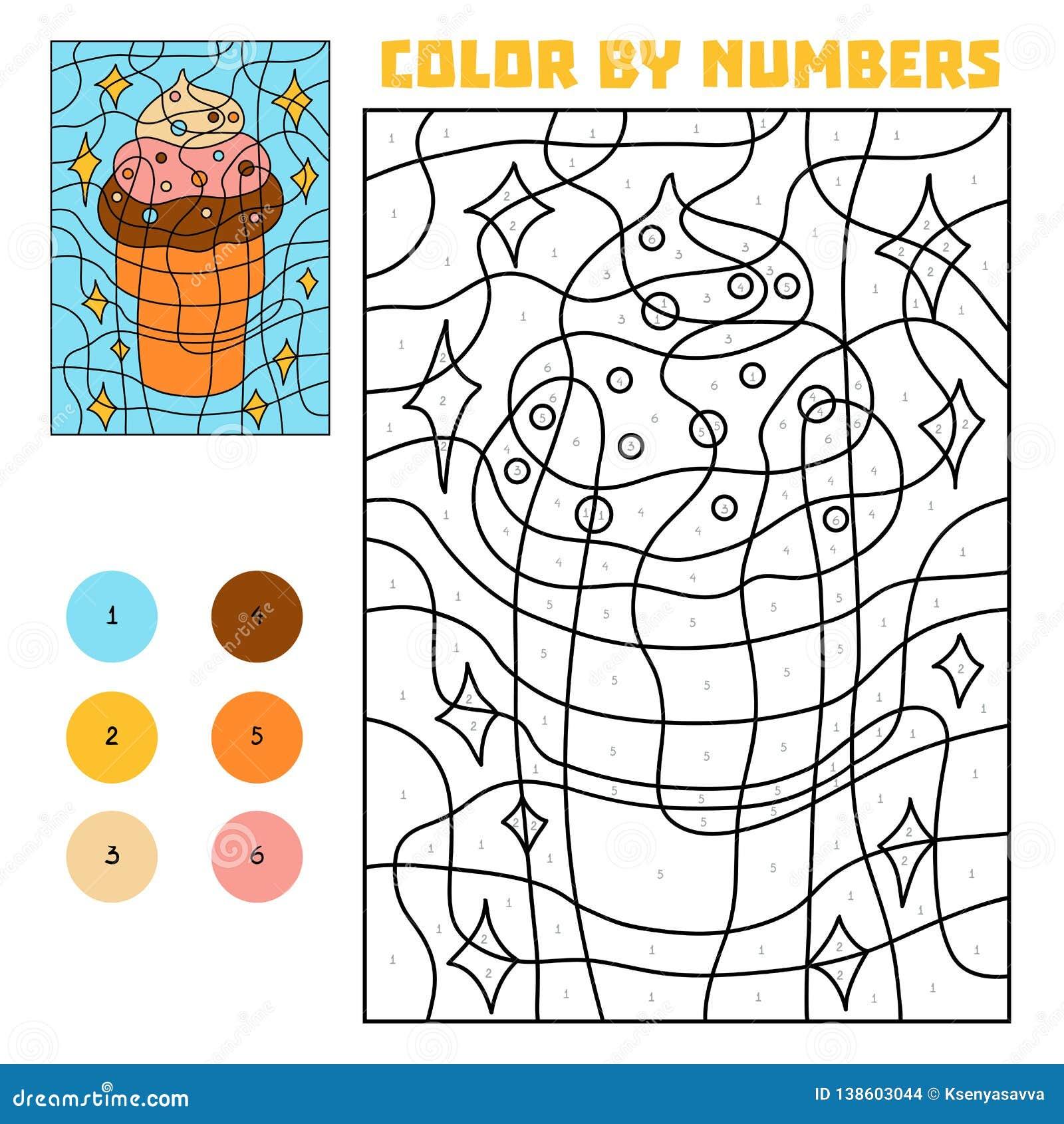 Color por el número, helado