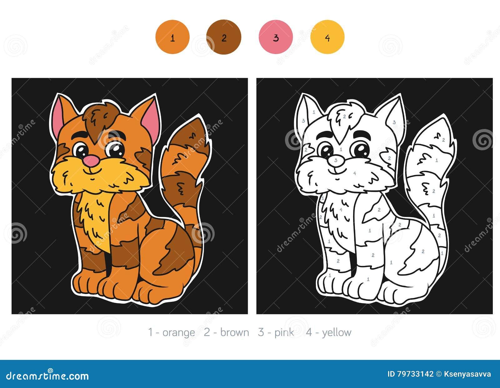 Color por el número para los niños, gato