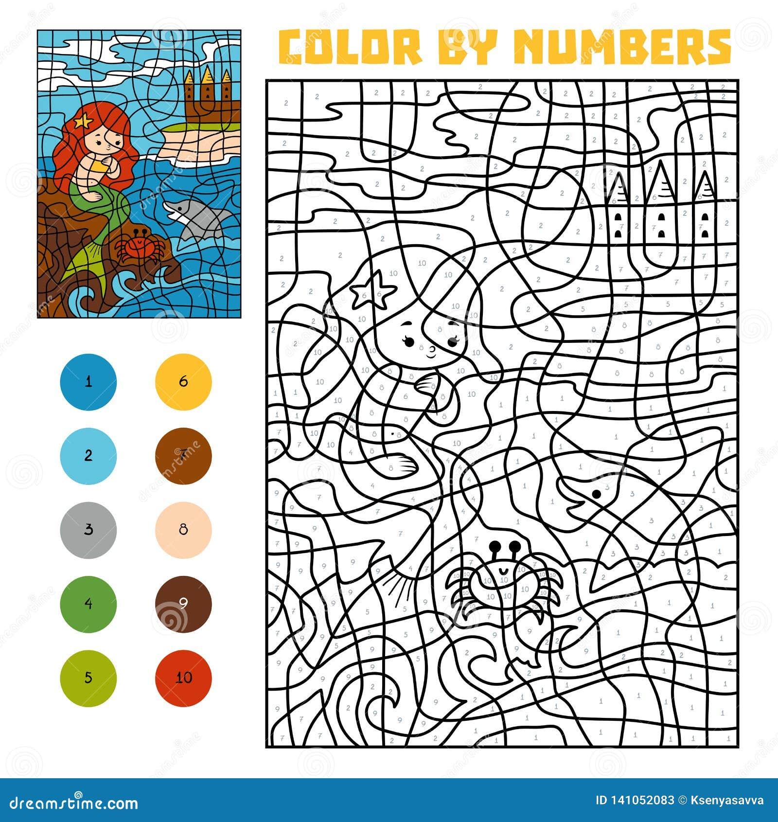 Color por número Cuentos de hadas Little mermaid en una roca en el mar