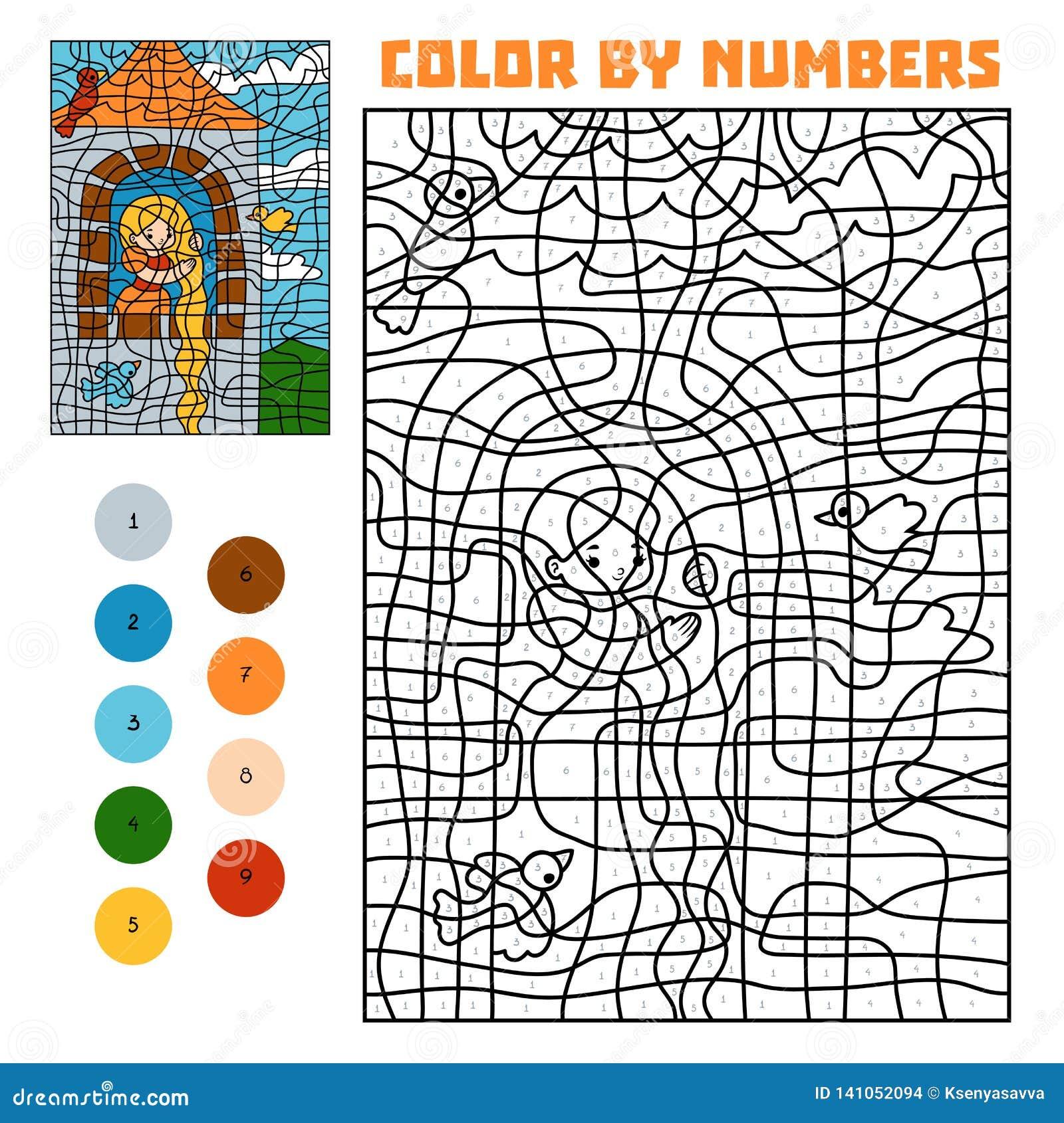 Color por número Cuentos de hadas Rapunzel en la torre