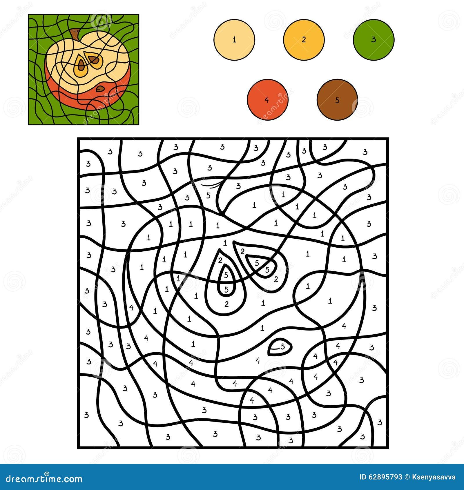 Color por número: manzana