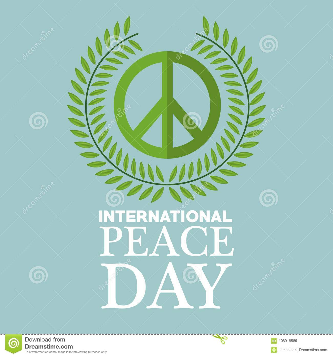 Color Poster Crown Of Leaves Around Of Symbol International Peace