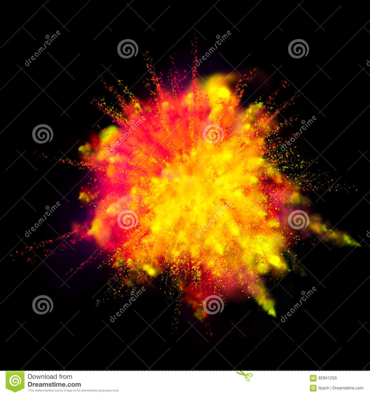 Color Powder Explosion Paint On Black Background Stock Photo ...