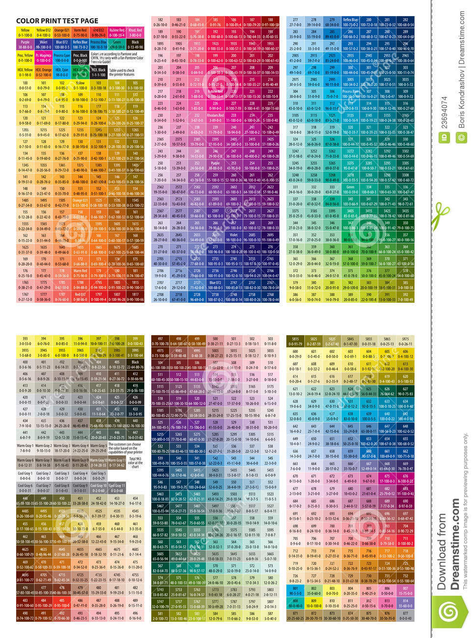 Color Print Test Page Stock Images Image 23694074