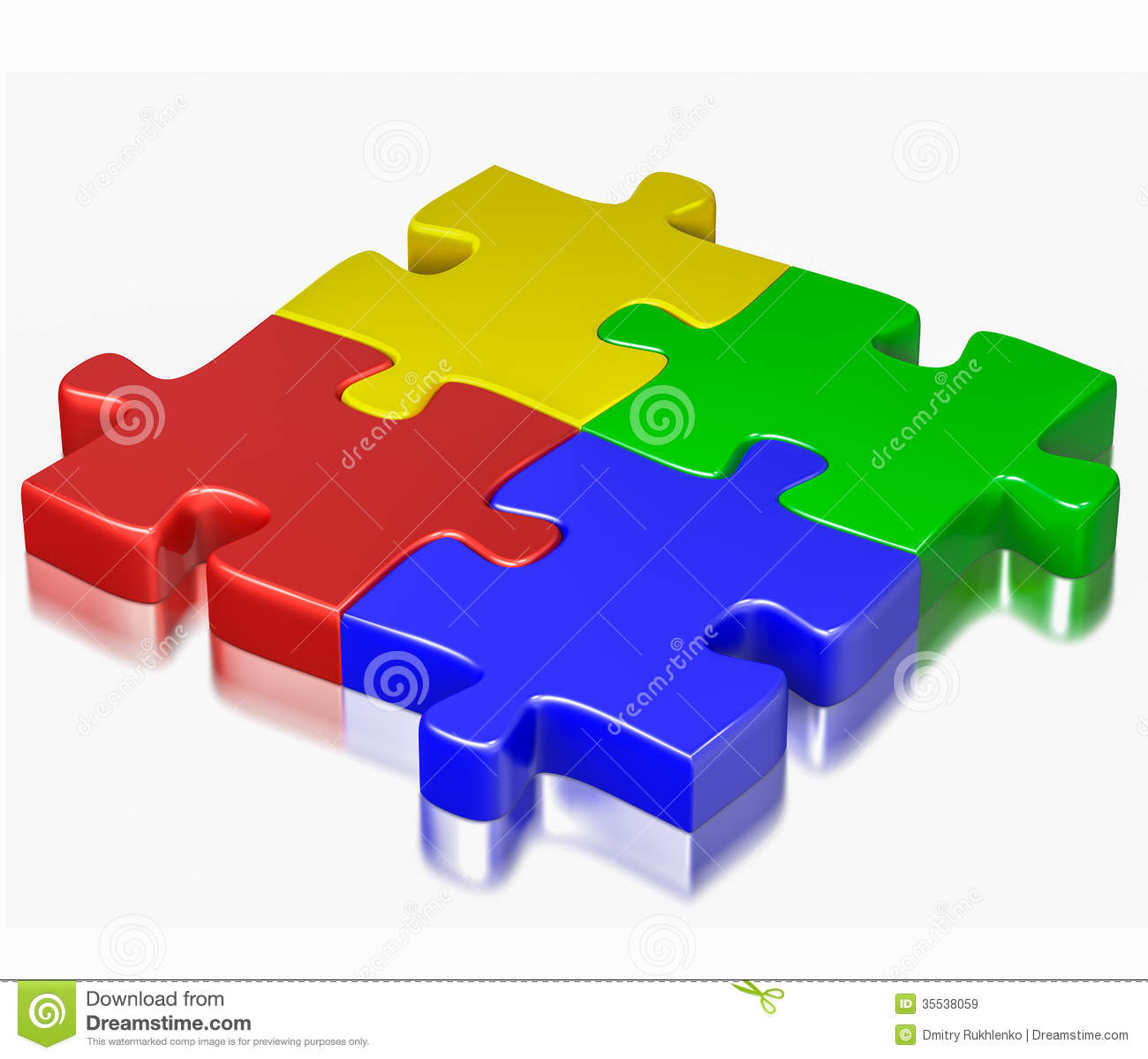 color puzzle jigsaw pieces isolated on white background royalty