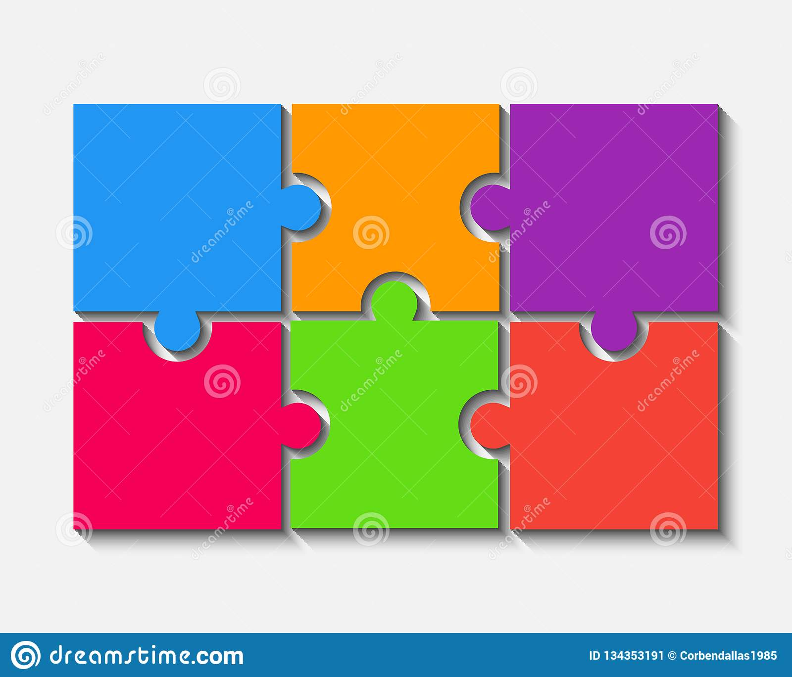 Color Puzzle Pieces Jigsaw Six Steps Infographic Stock Vector Illustration Of Infographic Abstract 134353191