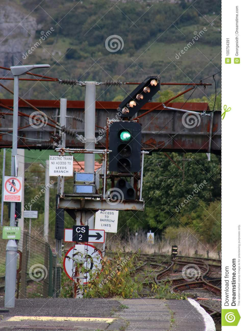 Color Railway Signal, Signs, Feather For Junction Editorial