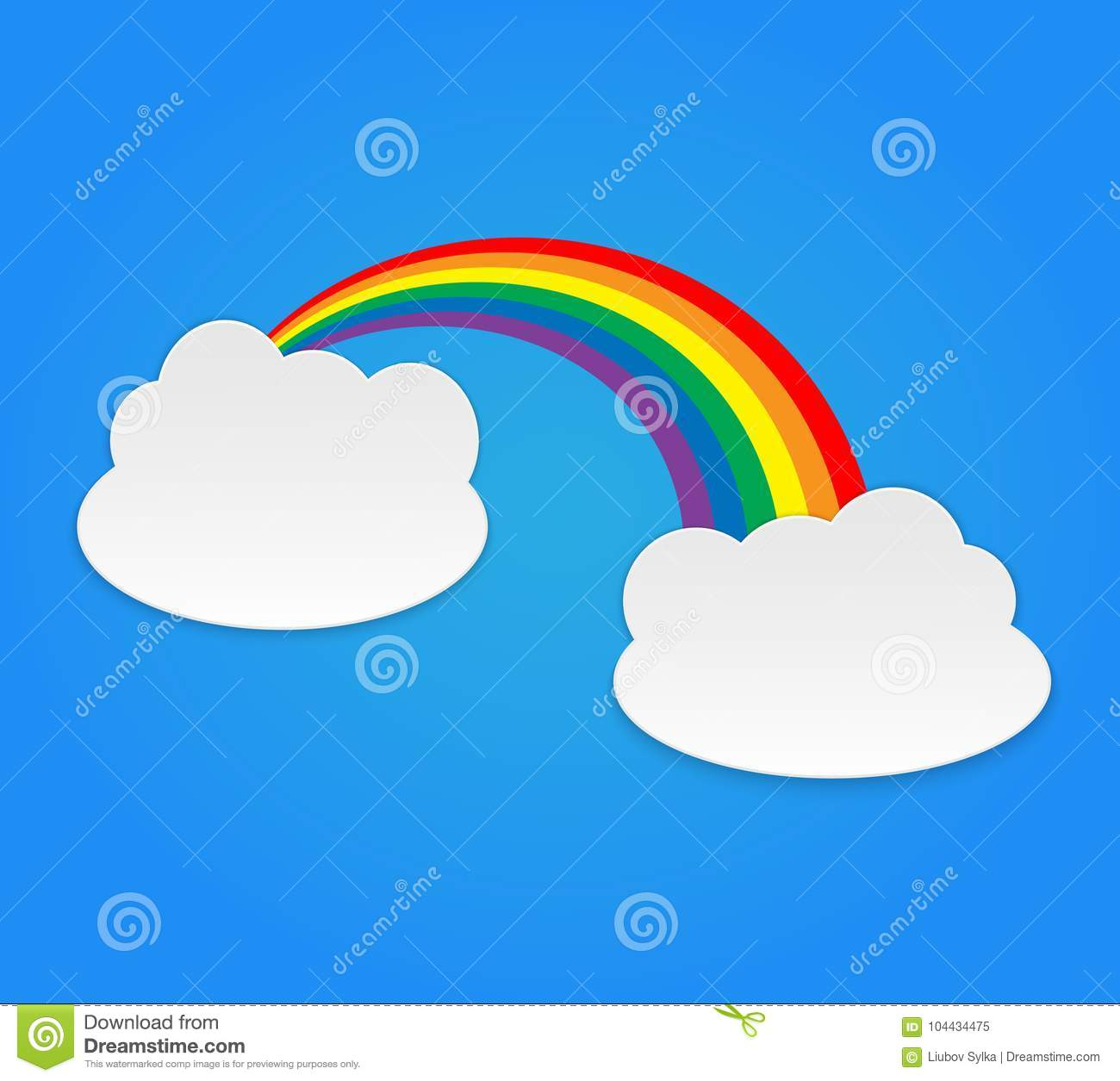 Color Rainbow With Clouds, Sky. Vector Cartoon Illustration Isolated ...
