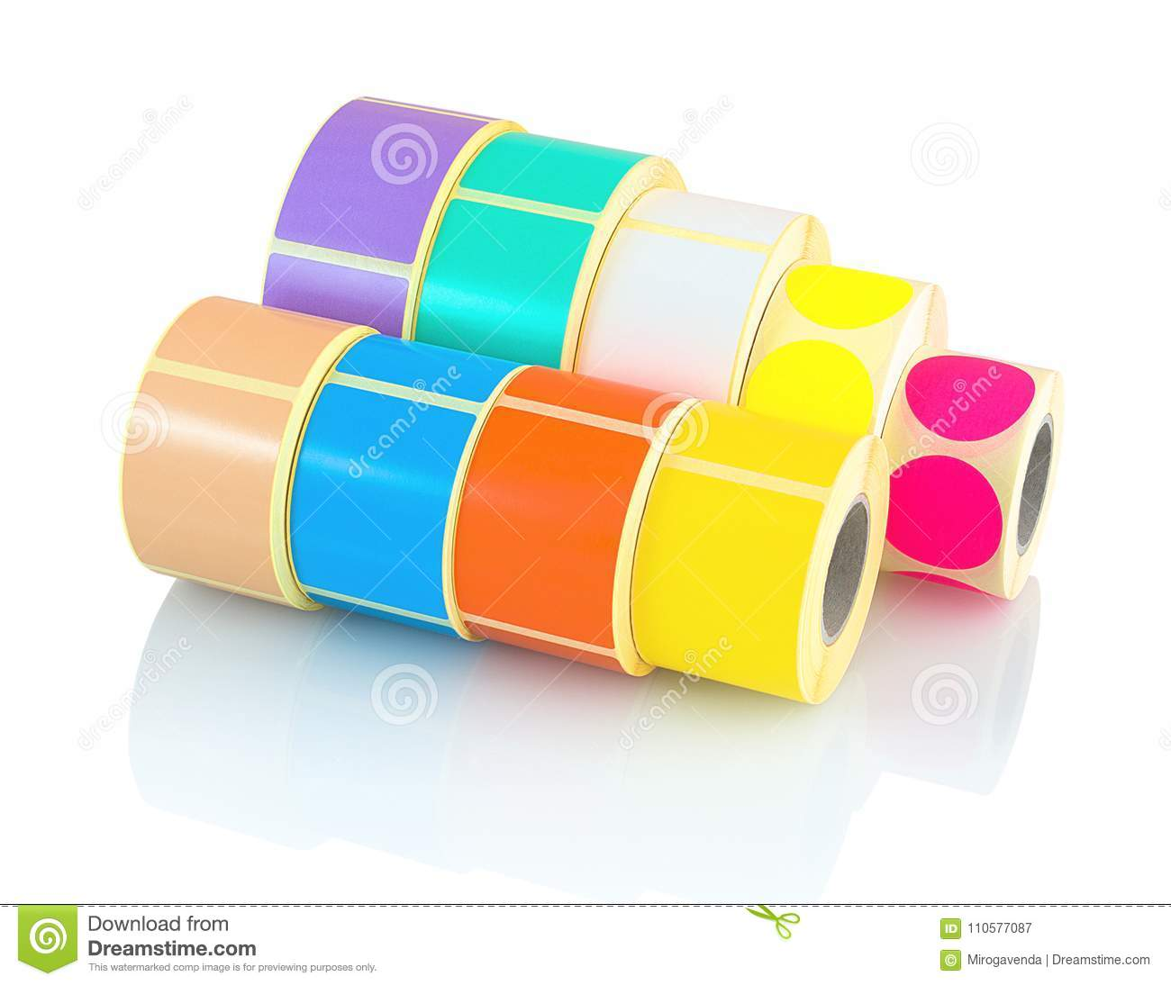 Color Reels Of Labels  Colored Label Rolls Isolated On White