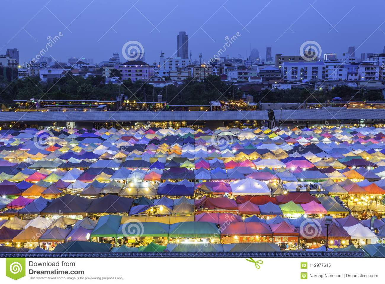 Color roof in Train Night Market Ratchada