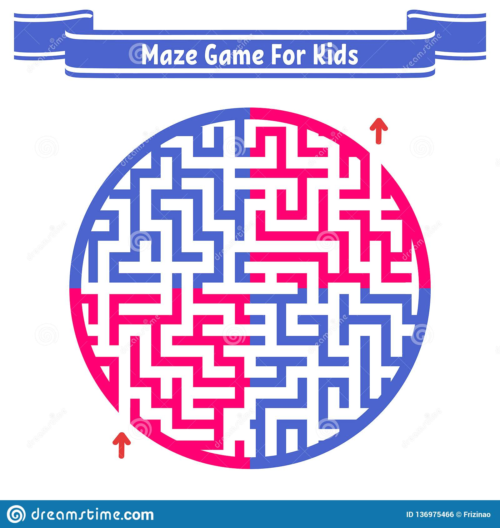 Color Round Maze. Painted In Different Colors. Game For Kids And ...