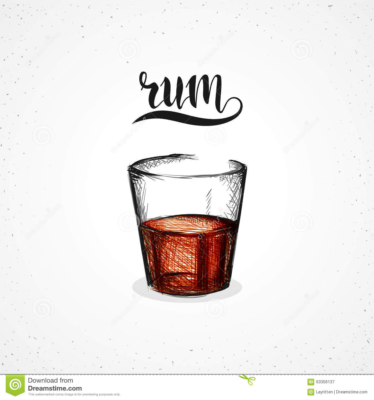 Color Rum In Glass With Calligraphy Sketch By Hand Stock
