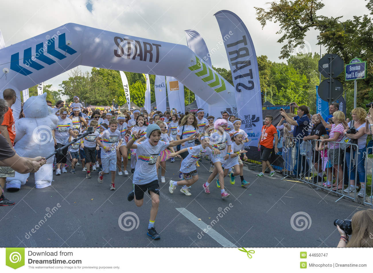the color run bucharest editorial photography image 44650747