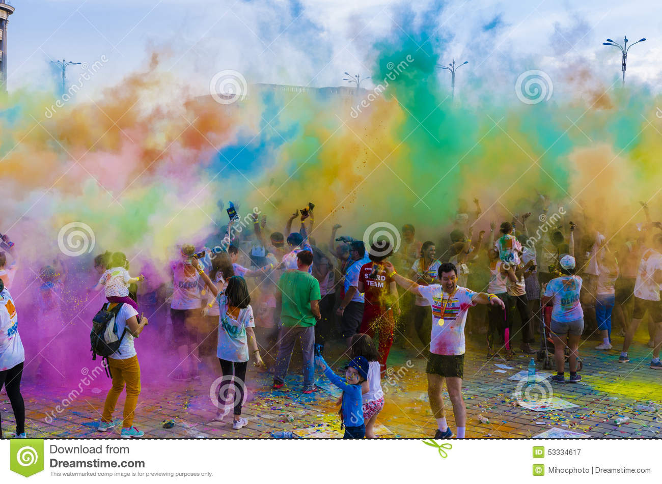 The Color Run Bucharest Editorial Stock Image - Image ... |Color Powder In Air