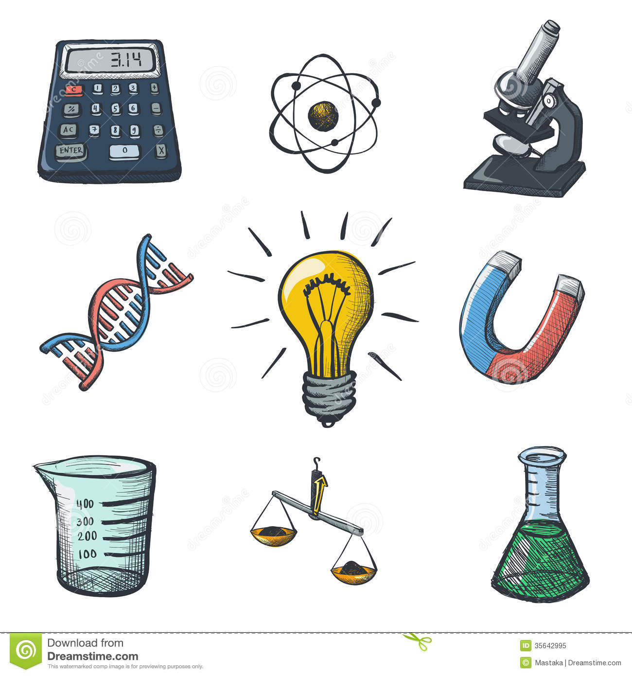 color science icons sketch - Science Pictures To Color