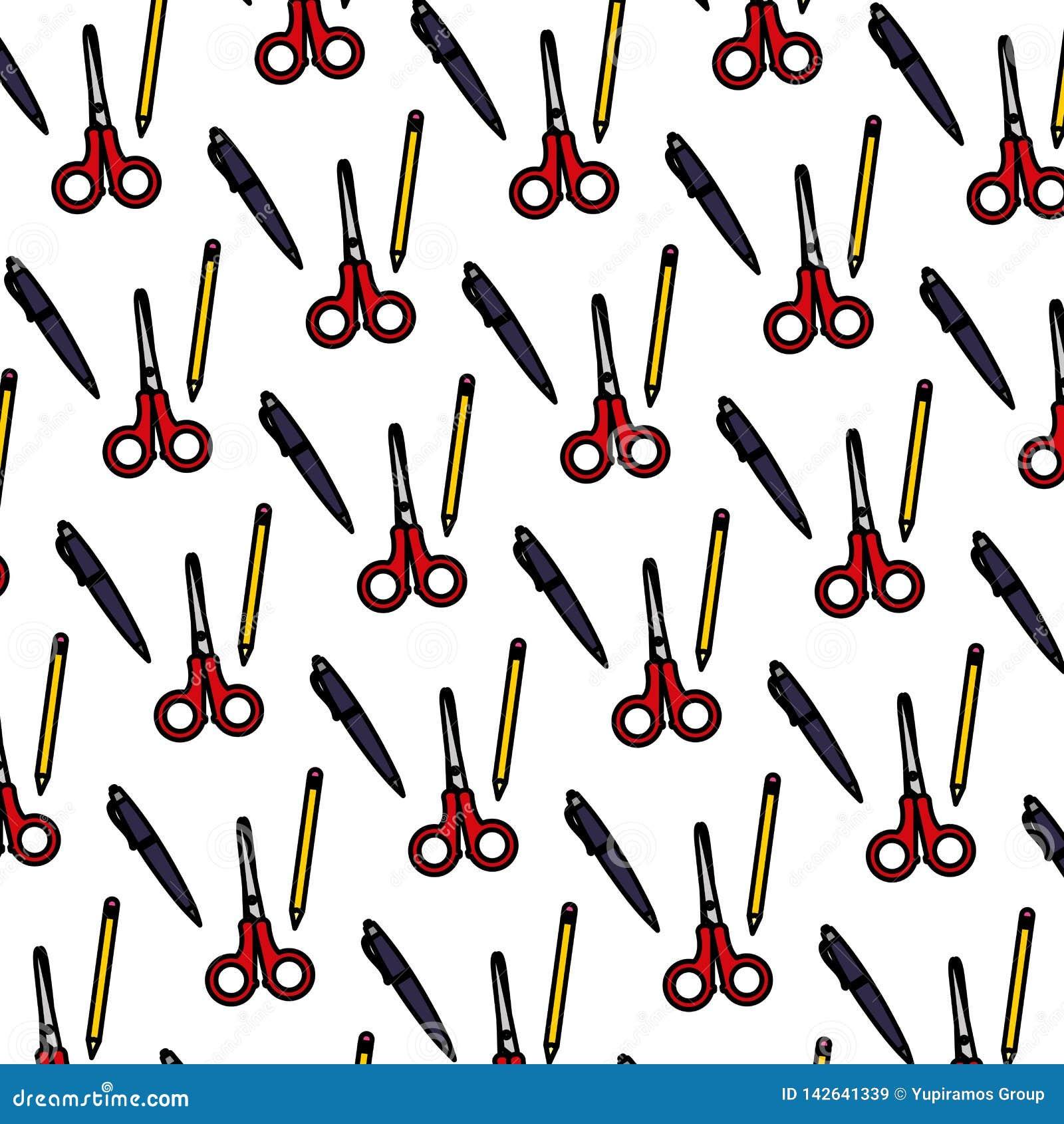 Color Scissors And Pen School Tools Background Stock ...