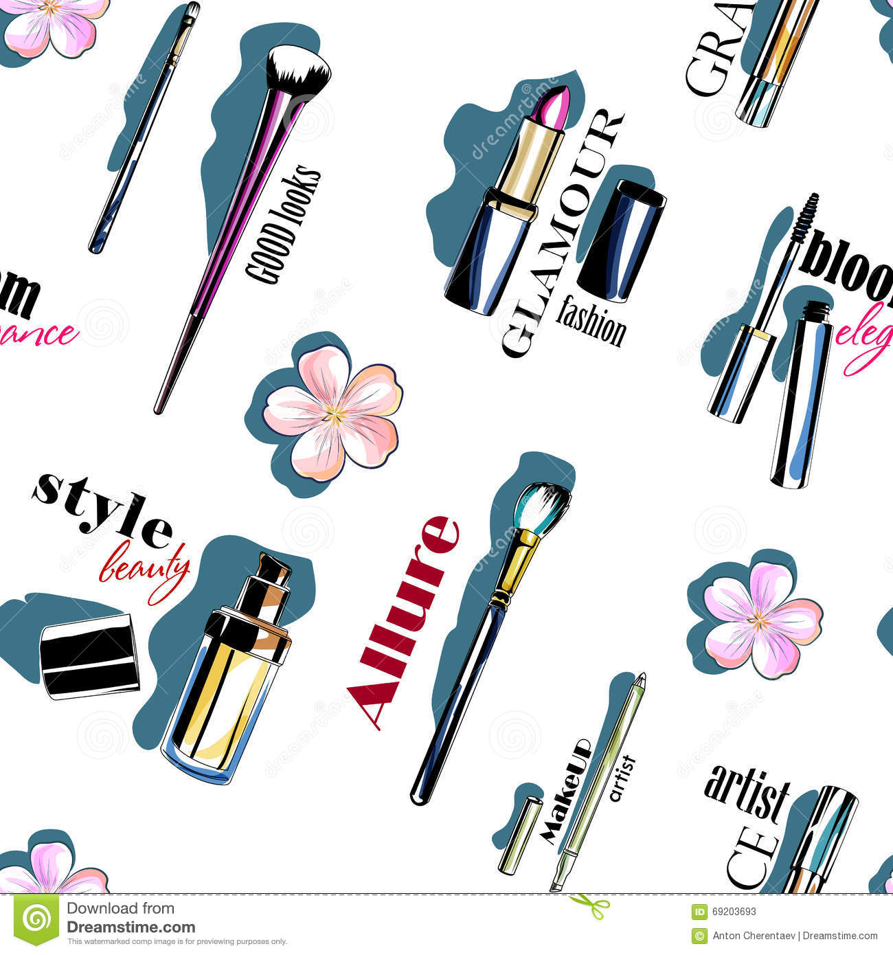 color seamless makeup tools pattern stock illustration