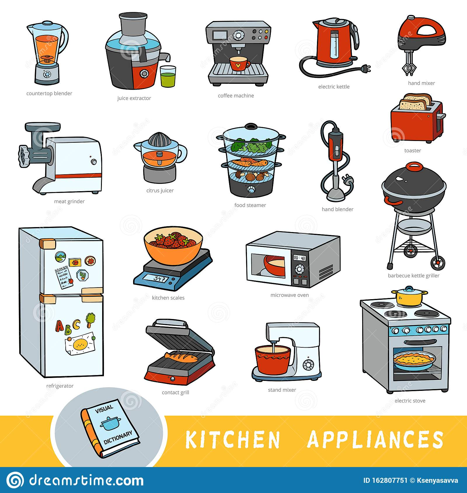 Color Set Of Kitchen Appliances Collection Of Vector Items With Names In English Cartoon Visual Dictionary Stock Vector Illustration Of Color Grill 162807751