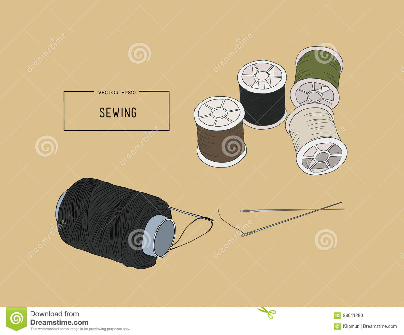 Color Set Of Objects For Sewing Sketch Tool Vector Stock Vector