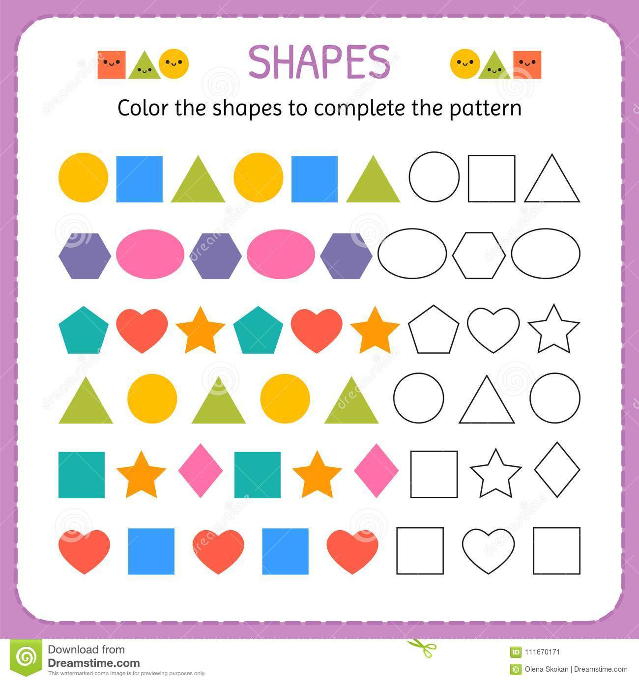 color the shapes to complete the pattern learn shapes and geometric figures preschool or. Black Bedroom Furniture Sets. Home Design Ideas