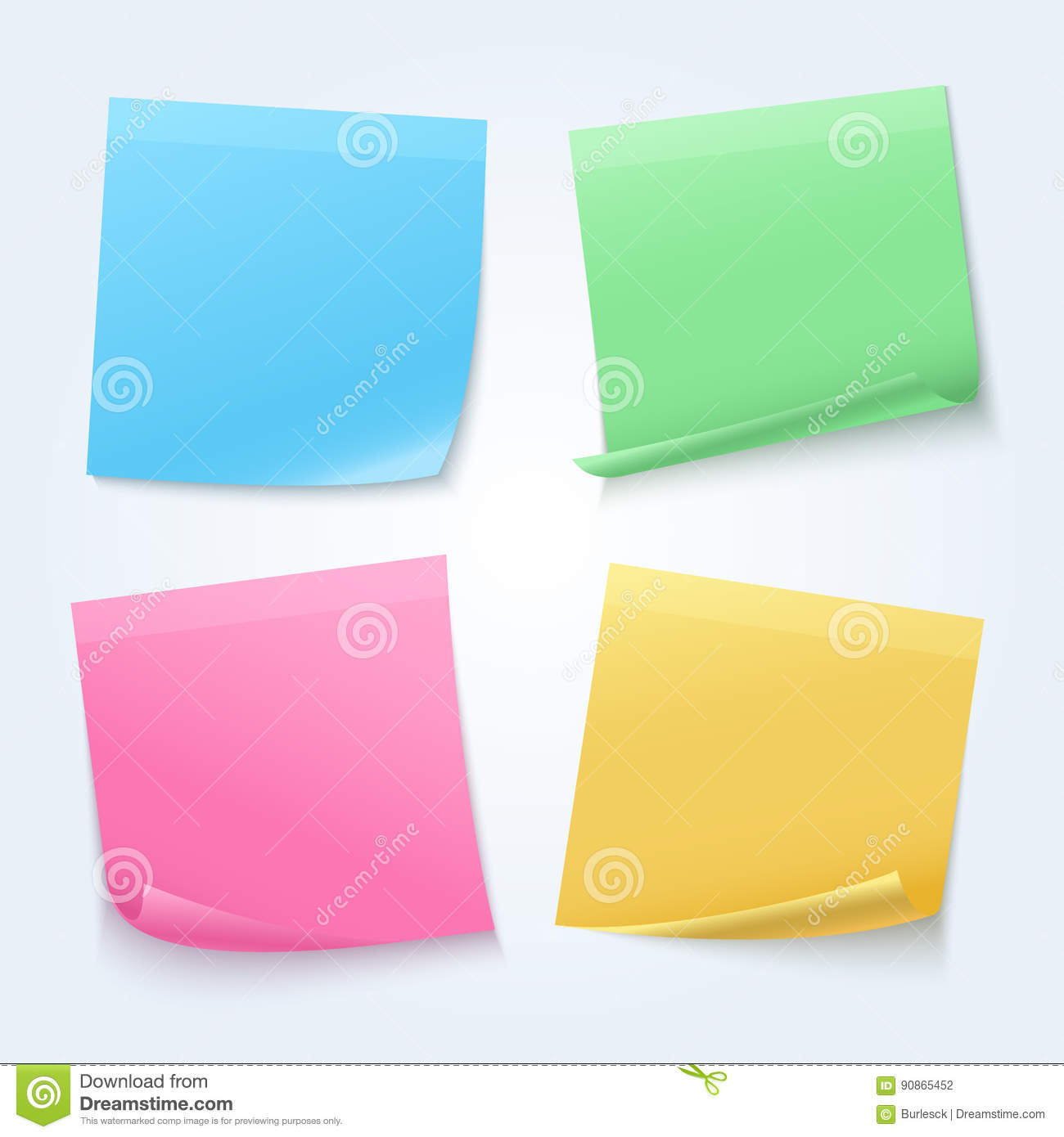 color sheets sticky papers on announcement board vector set - Color Papers