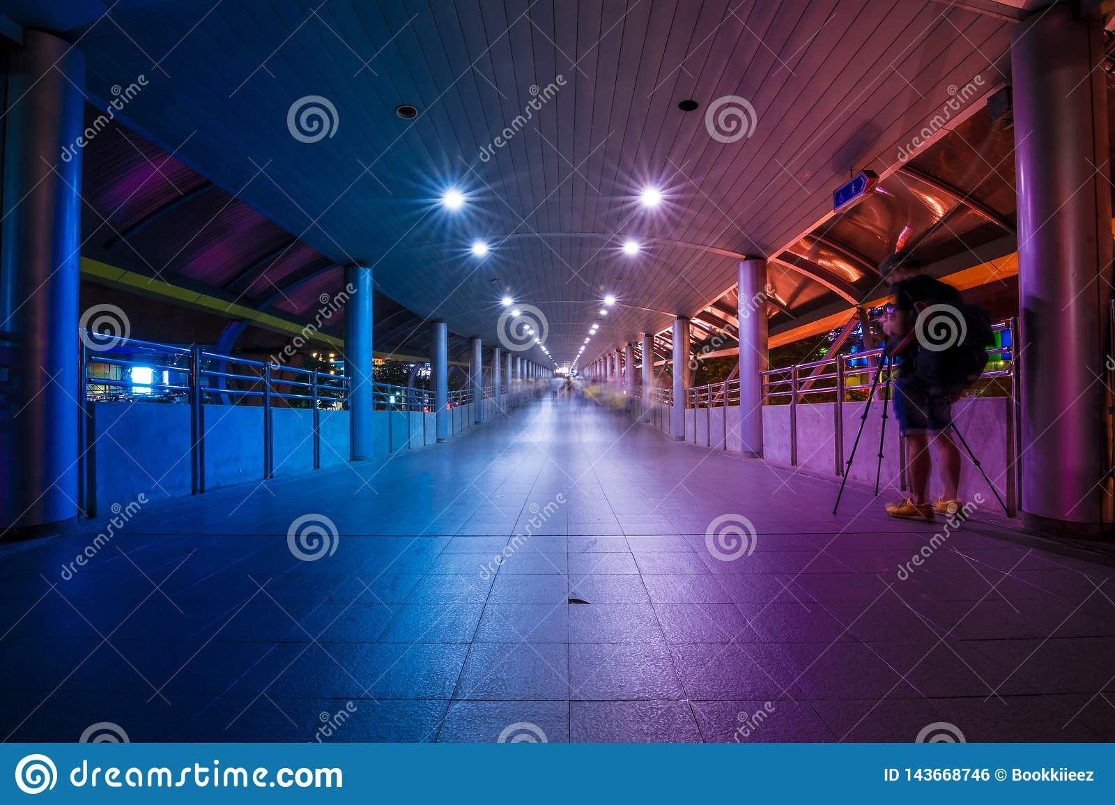 The pathway at metro system with purple and blue tone in Bangkok, Thailand.