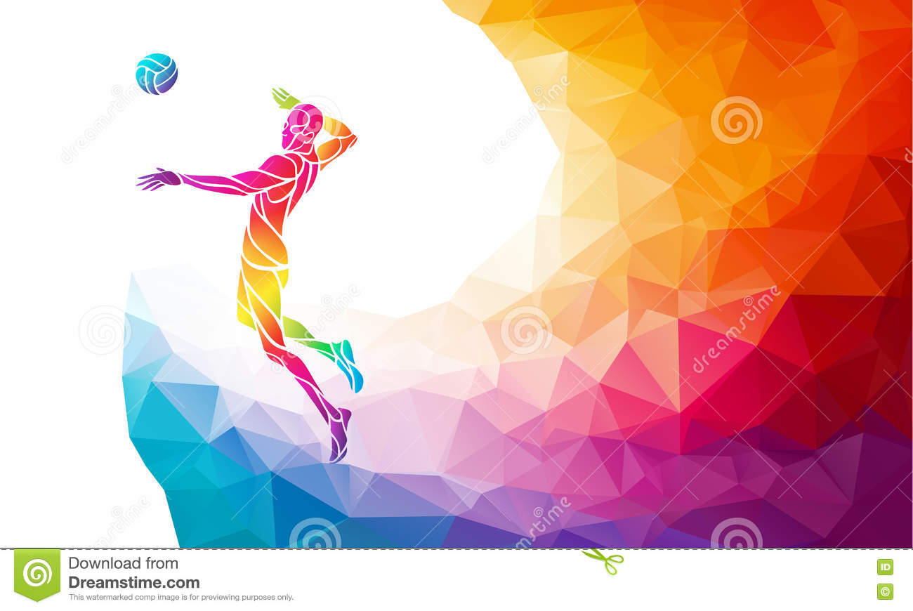 Illustration Abstract Volleyball Player Silhouette: Color Silhouette Of Volleyball Player On Attack Position