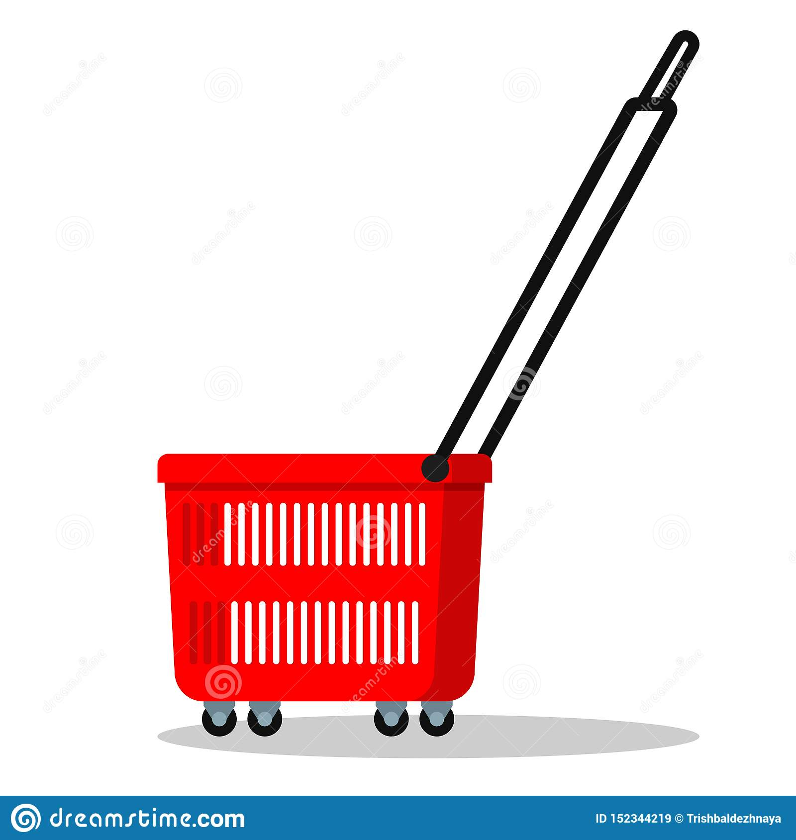 Color simple template icon of red plastic shopping basket with wheels and long handle